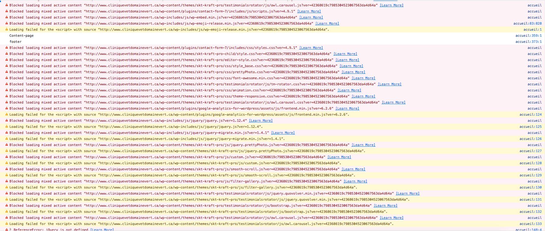error codes when switching to https